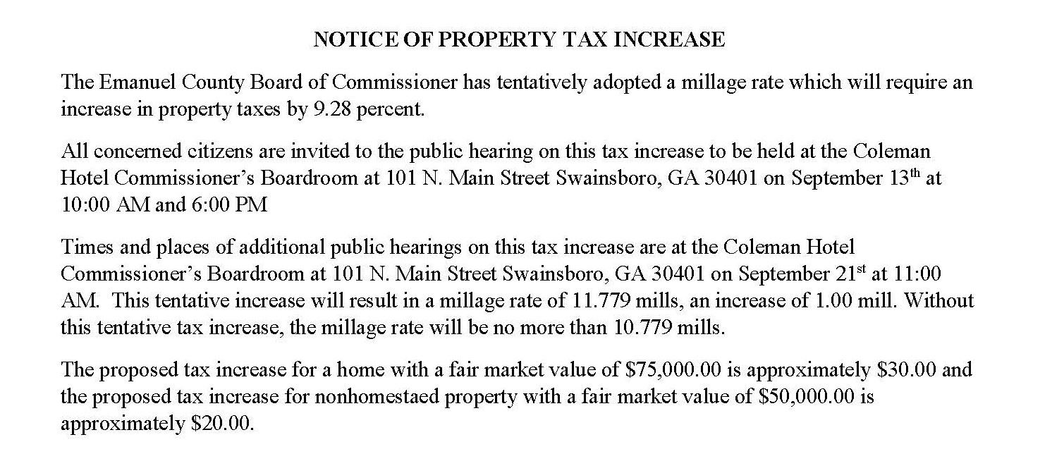 NOTICE OF PROPERTY TAX INCREASE 2016